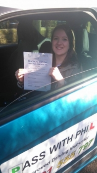 Massive congratulations to Clare who passed her driving test this morning 23rd Feb in Buxton at the first attempt and with only 7 faults With the added pressure of finishing work on Friday to move to Birmingham next week and to have a baby in the next few weeks you did fantastic Itacute;s been an absolute pleasure taking you for lessons and helping you achieve your goal Enjoy your indepen