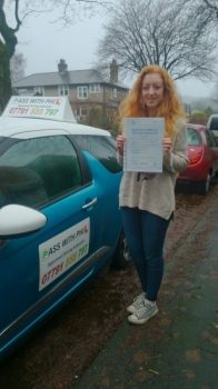 Congratulations to my daughter Ella who passed her driving test today 17th December in Buxton at the first attempt and with only 1 driver fault She was 18 on Monday so what a great birthday and Christmas present She joins that exclusive club of passing both theory and driving test first time Well done hun so proud