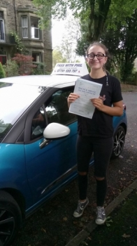 Huge congratulations go to Katie this morning who has passed her driving test in Buxton at the first attempt and with only 6 driver faults A great drive well done Itacute;s been an absolute pleasure taking you for lessons and helping you achieve your goal Enjoy your independence and stay safe