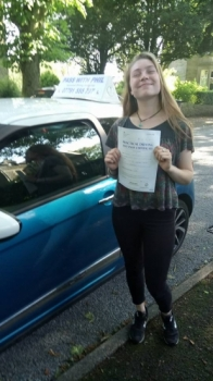A fantastic start to Monday morning with Phoebe passing her driving test at the first attempt in Buxton She joins the exclusive club of passing both theory and driving test first time and has matched her sister who to passed both first time with me 2 years ago<br />