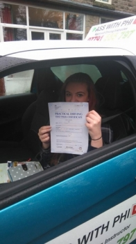 Congratulations to Katie who passed her test this morning 17th Feb in Buxton at the first attempt and with only 5 minors A bit shy for the photo but a great drive well done Itacute;s been an absolute pleasure taking you for lessons and helping you achieve your goal Enjoy your independence and stay safe