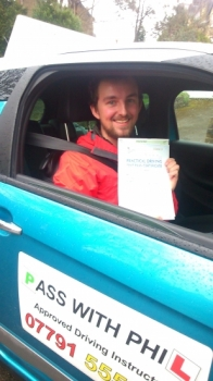 Massive congratulations go to Tom who passed his driving test in Buxton this morning 1st April at the first attempt Great drive Tom well done Been great meeting you and helping you achieve your goal Take care and stay safe